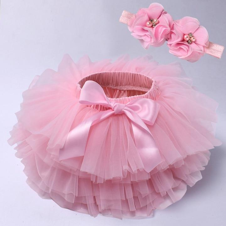 Юбка-пачка для маленьких девочек, комплект из 2 предметов, кружевные трусы из тюля, Одежда для новорожденных, Одежда для младенцев Mauv, повязка на голову с цветочным принтом, Детские сетчатые трусики - Цвет: pink