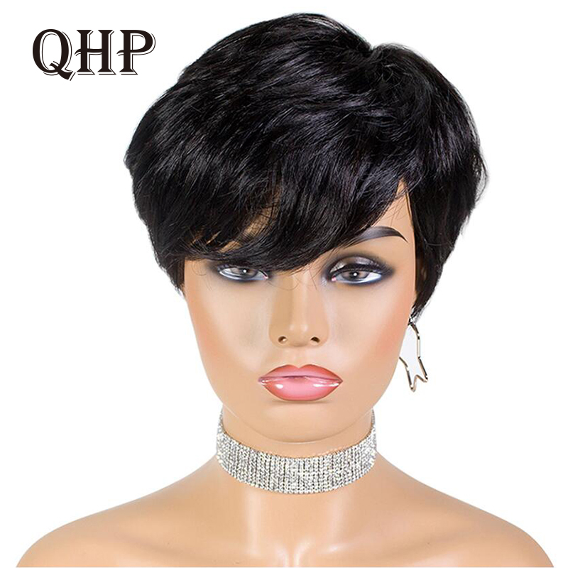 Pixie Cut Straight Short Bob Wigs Natural Black Brazilian Remy Human Hair Wig Full Machine Wig