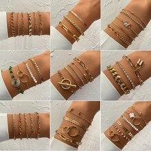 Iparam boêmio misto geométrico corrente pulseira conjunto feminino retro punk metal grosso corrente pulseira 2021 moda tendência jóias presente