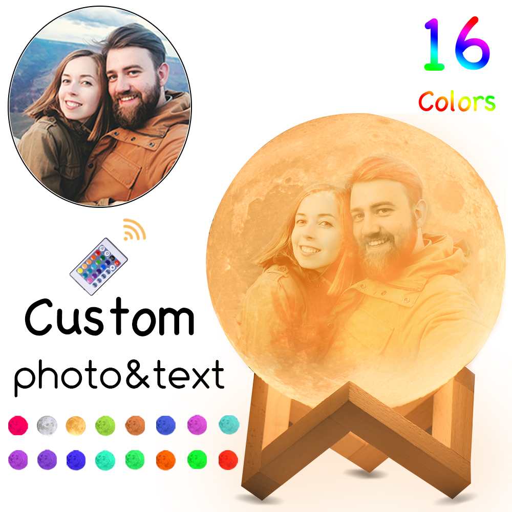 Personalized Moon Lamp 16 Colors Customizable With Picture Words Engraved As Perfect Gift For Loved Ones 3D Printed Moon Lamp