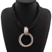 Vintage Cross Alloy Circle Pendant Black Leather Chain Lots Necklaces Accessories Fashion Jewelry For Women vintage cross anchor sweater chain for women