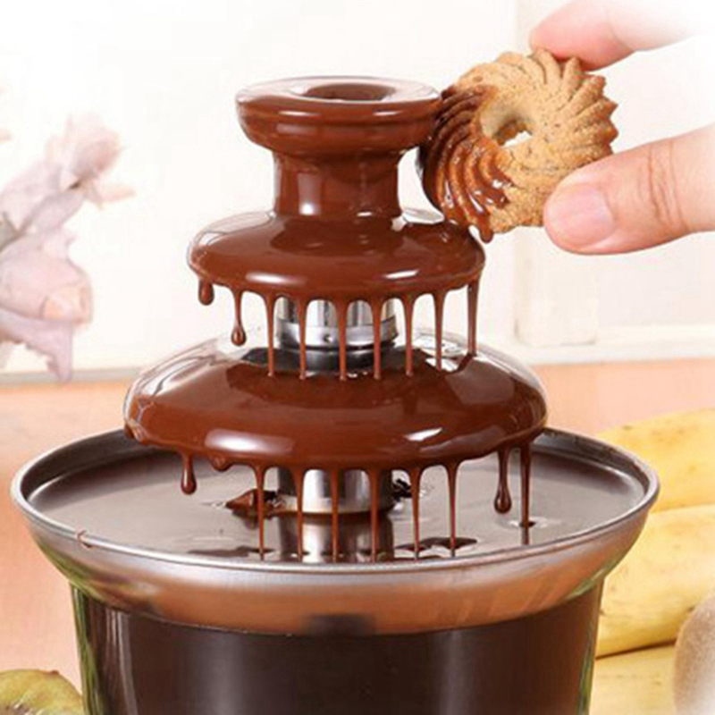Mini Chocolate Fountain Three Layers Creative Chocolate Melt With Heating Fondue Machine Diy Melt Waterfall Pot
