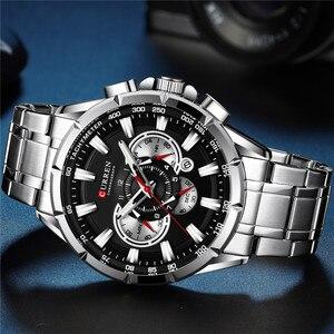 Image 2 - CURREN mężczyzna zegarek wodoodporny chronograf mężczyźni oglądać wojskowy Top marka luksusowe srebrny ze stali nierdzewnej Sport mężczyzna zegar 8363