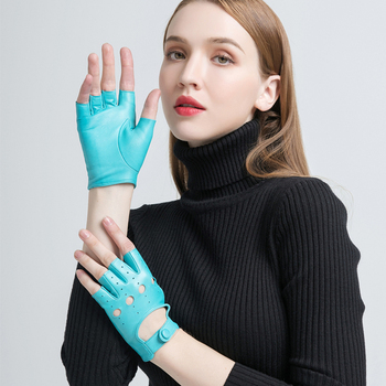 Genuine Leather Gloves for Women Black Fashion Goatskin Fingerless Unlined Gloves Winter Half Finger Driving Soft New Arrival genuine leather gloves for women fingerless black fashion sheepskin wool one gloves winter half finger driving soft new arrival