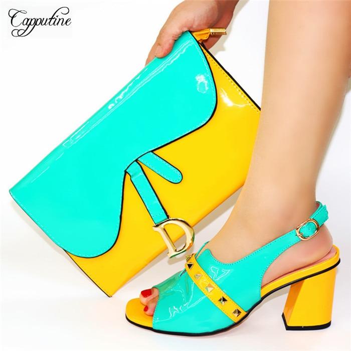 Изящные Вечерние комплект белого и голубого цвета, высокий каблук, сандалии с кошелек элегантная обувь и сумка в вечернем комплекте 8108 Высота каблука 8 см, размеры 38–44 - 6