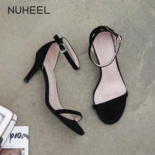 NUHEEL Women's Shoes Fairy Style High Heels New Summer Fashion Wild Word Buckle Stiletto Heel Women женская обувь