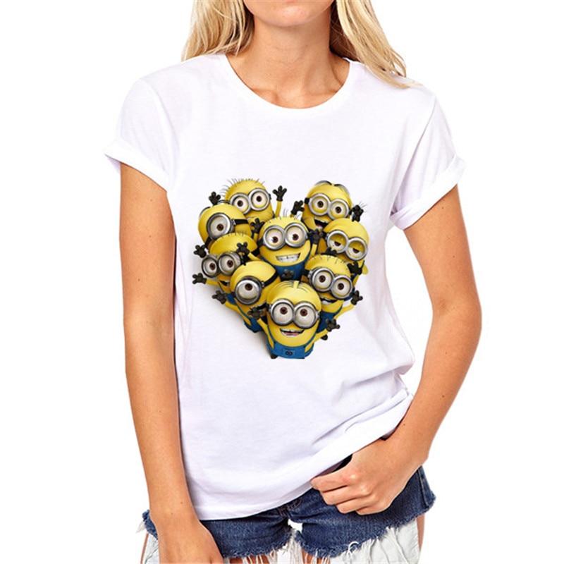 Camisetas Loose o-neck tshirt Women tops Tee Shirt Fashion 2020 Summer T-shirt femme Harajuku Gun minion Print t shirt