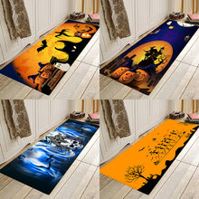 Halloween pumpkin, witch, bat, flannel, print, home mat, bathroom door bedside party mat.