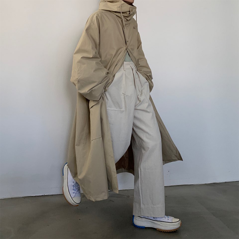 Мужское пальто свободного кроя с капюшоном, хлопковая стеганая длинная куртка для мужчин и женщин, уличная винтажная верхняя одежда, ветровка, плащ - 2