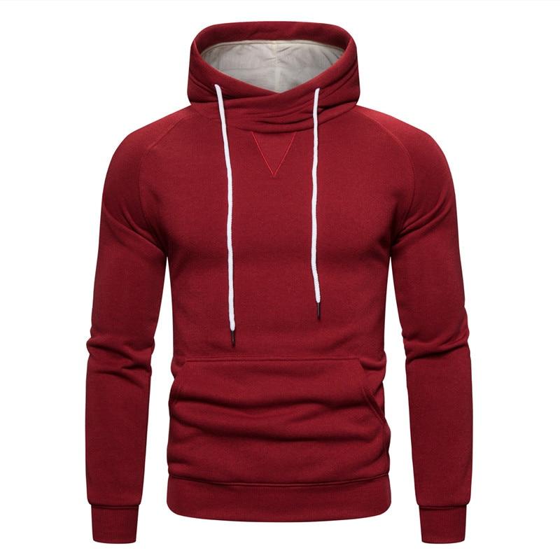 2019 New Autumn Winter Cotton Hoodied Mens Sweatshirts Solid Hoody Fleece Thick Hoodies Men Sportswear Zipper Sweatshirts Men 23