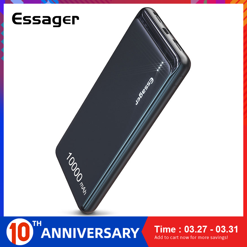 Essager 10000 Mah Slanke Power Bank Draagbare Externe Batterij Oplader 10000 Mah Dual Usb Led Powerbank Voor Iphone Xiao Mi rode Mi Mi 8 title=