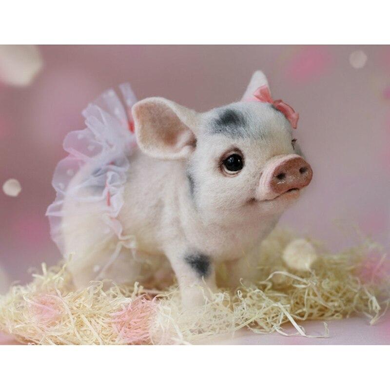 Купить diy 5d diamond painting animal cross stitch pig embroidery full