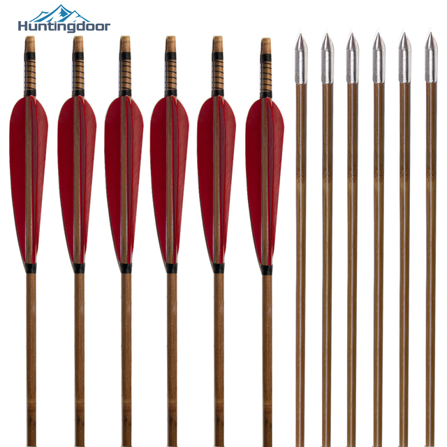 12pcs 32/'/' bamboo arrow in black/&white feather archery for longbow shooting
