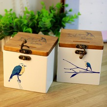 Pony whirling solid wood blue bird creative wooden storage bank
