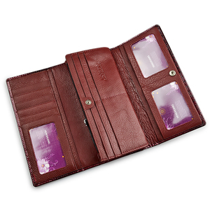 Image 5 - Portefeuille en cuir véritable pour femmes, portefeuille en cuir véritable rouge brillant, longue porte monnaie Alligator, pochette pour pièces de monnaie, portefeuille porte cartes
