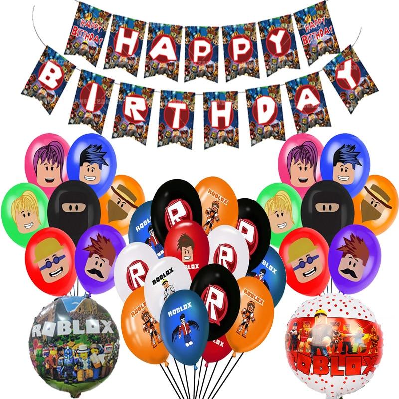 Новая игра Robloxs фольга, латекс набор воздушных шариков с пикселей Шары Баннер Декорации с днем рождения детей взрослых вечерние шары пользу