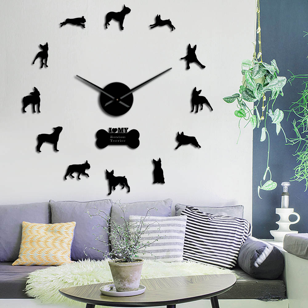 Boston Terrier Dog Breed Wall Art Home Decor Large Wall Clock Boston Bull Terrier Giant Wall Clock With Big Needle Clock Hands