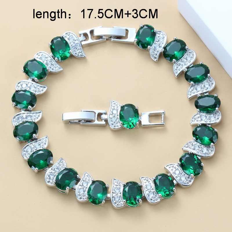 925 เงินสเตอร์ลิงเจ้าสาวเครื่องประดับขนาดใหญ่ชุดหินสีเขียวธรรมชาติ CZ ต่างหูสร้อยคอสร้อยข้อมือและแหวน 11-สีผู้หญิงงานแต่งงานชุด