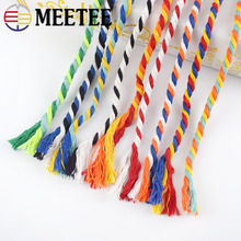 15mx6mm Colored 100% Cotton 3 Shares Twisted Cords DIY Craft Rope For Bag Belt Decor Cord Ropes Sewing Accessories