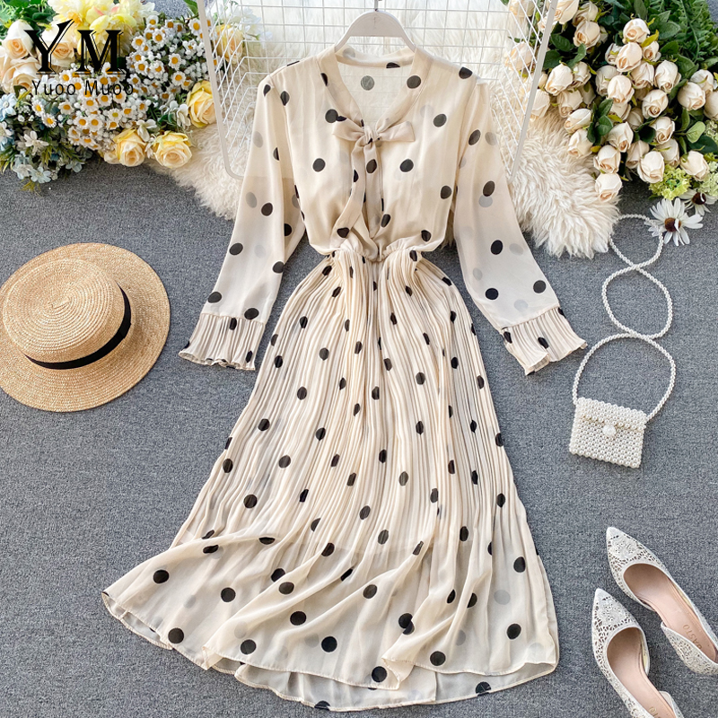 YuooMuoo New Spring Dress Long Sleeve Office Polka Dot Dress Women Casual Bow Tie Pleated Chiffon Dress Long Chiffon Dress Tunic