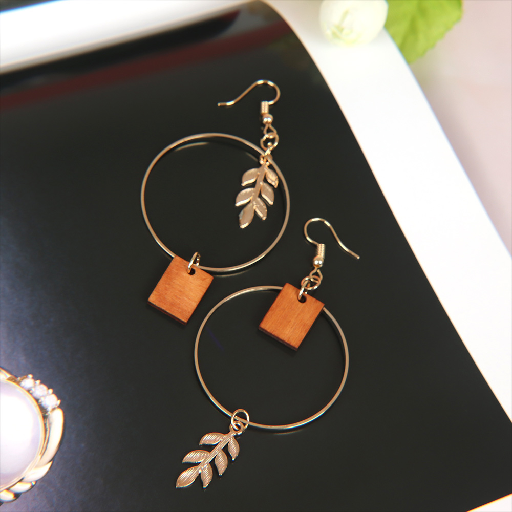 Circle Gold Color Leaves Dangle Earrings Geometric Square Wood Drop Earrings Women Boho Asymmetric Jewelry Gift