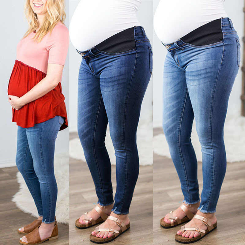 Pantalones Vaqueros Sueltos Comodos Ropa De Maternidad Otono Pantalones De Mezclilla De Cintura Baja Mujeres Embarazadas Pantalones Vaqueros Aliexpress