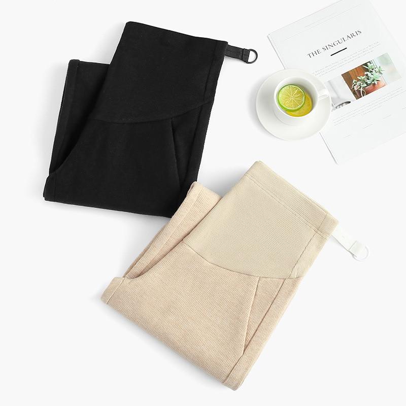 Autumn New Fashion Pregnant Women Pants Wear Casual Nine Womens Adjustable Belt