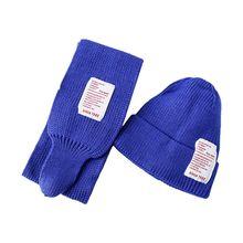 Комплект из 2 предметов; детская зимняя шапка; длинный шарф; яркие цвета; шапка с нашивкой; шапка AXYD