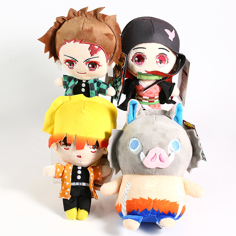 Demon Slayer Kimetsu No Yaiba Kamado Tanjirou Nezuko Zenitsu Agatsuma Hashibira Inosuke Soft Stuffed Plush Toys Dolls 4pcs/set