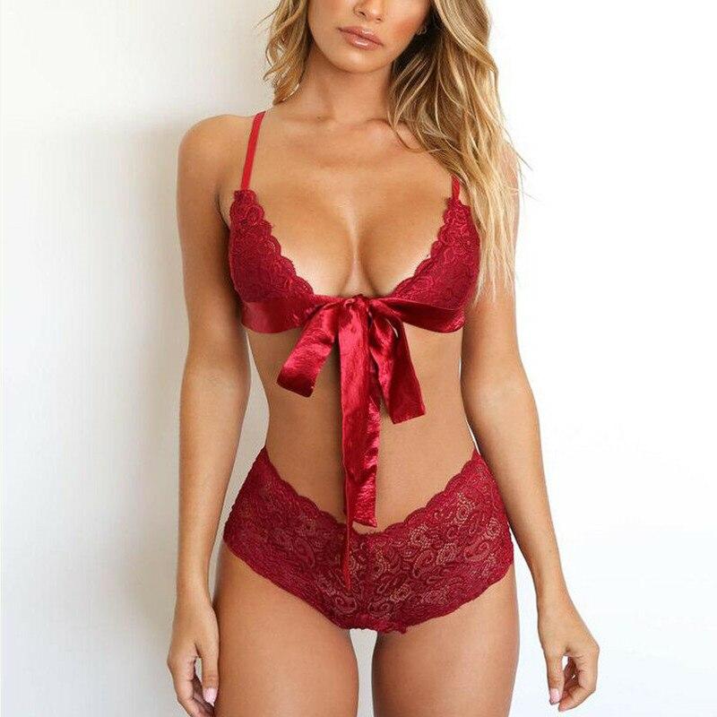 Sexy Lingerie Lace Brasserie Women Bra Set Fashion Bow Tie Brief Set Transparent Underwear Intimates 2019 G-string Nightwear