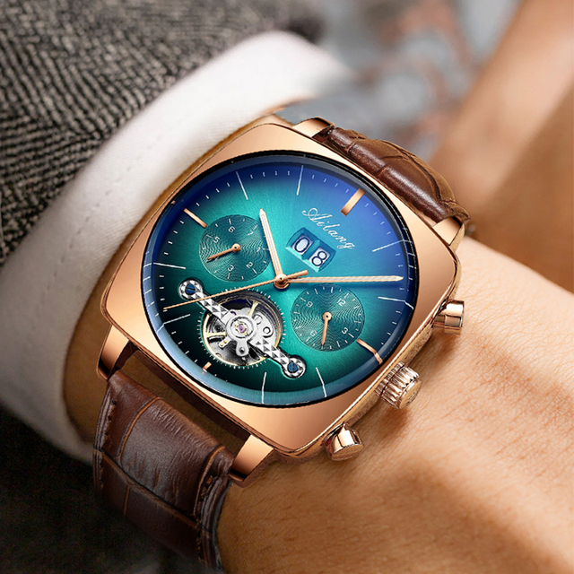 swiss famous brand watch montre automatique luxe chronograph Square Large Dial Watch Hollow Waterproof New mens fashion watches 2