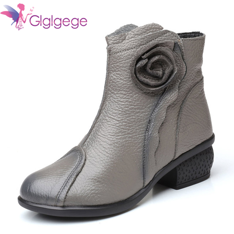 Cheap Glgl Women Boots Shoes Woman Handmade Vintage Genuine Leather Low-Heeled Shoe Round Toe High Quqlity Winter Fashion Shoes Women