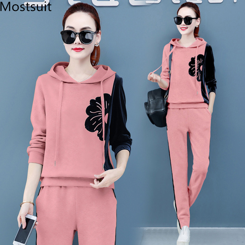 2019 Autumn Velvet Two Piece Sets Outfits Tracksuits Women Plus Size Hooded Sweatshirts And Pants Suits Casual Sport Fashion Set