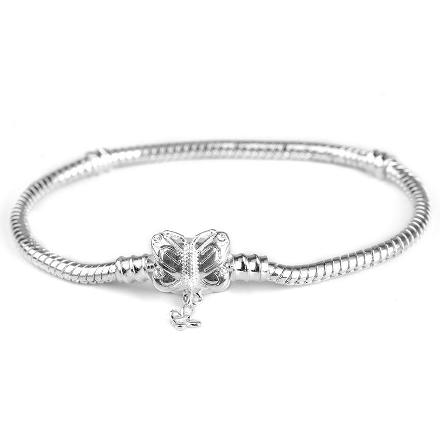 Новинка, браслет с подвеской из розового золота с Микки-Маусом, цепочка со змеей, подходит для Pan, базовые браслеты для модных женщин, бусины, сделай сам, ювелирное изделие - Окраска металла: NSL012