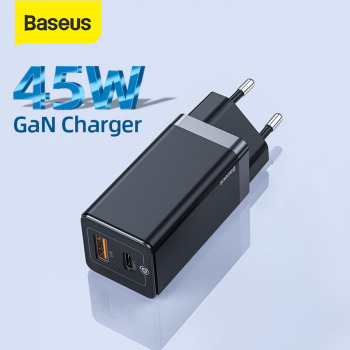 Baseus GaN Charger 45W PD USB C Charger With Quick Charge 4.0 3.0 Dual USB Ports Phone Charger ForiP ForXiaomi ForSamsung Laptop