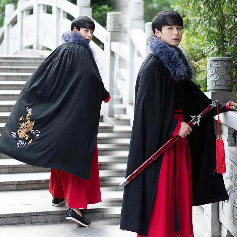 Couples Hanfu Cape Cloak Chinese Ancient Winter Thickness Black Red Velvet Cape Cloak Adult Christmas Costume For Men&Women