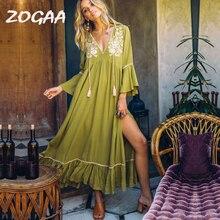ZOGAA 2019 Summer Boho Maxi Dress Women Floral Embroidery V-Neck Tassel Ruffles Beach Dresses Elegant Chic Cotton vestidos festa