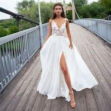 Бохо свадебное платье 3d Кружева Цветочная аппликация сексуальная