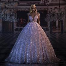 Długie suknie wieczorowe 2020 brokatowe cekiny głębokie dekolt suknia balowa z krynoliną formalne suknie wieczorowe Abendkleider tanie tanio Kontrast kolorów RSVPPAP Kostek Bez rękawów NONE Cekinami Naturalne Formalna wieczór Mikrofibra V-neck