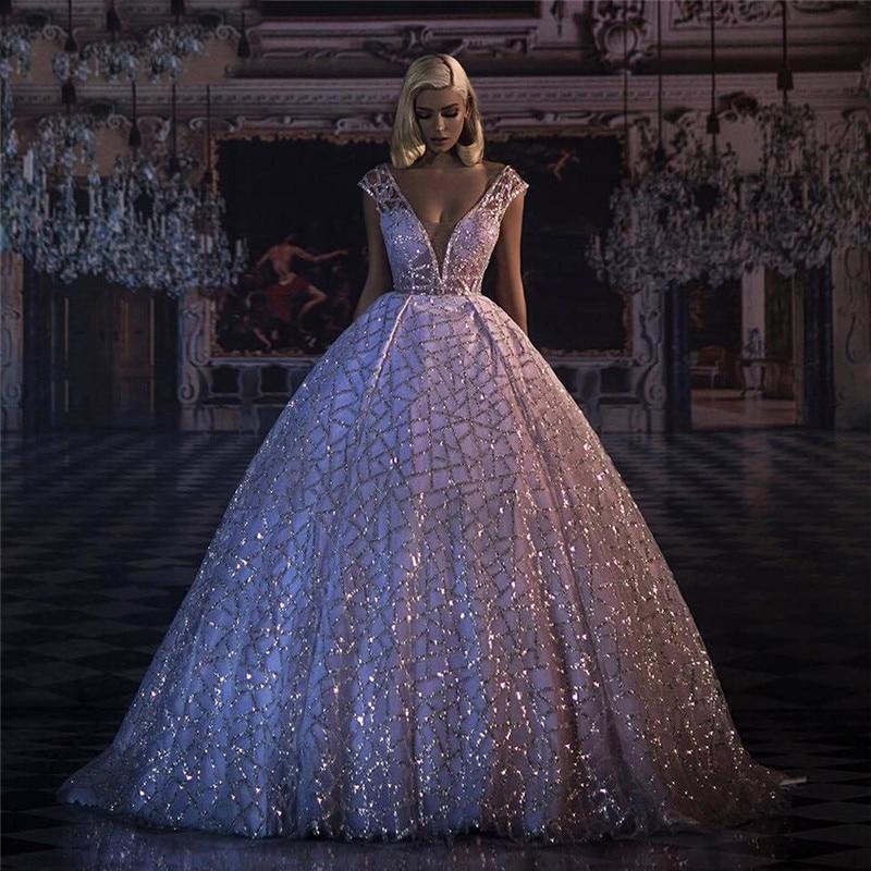 Long Evening Dresses 2020 Glitter Sequin Deep V-neck Puffy Ball Gown Formal Evening Gowns Abendkleider