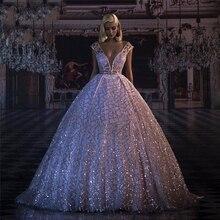 Long Evening Dresses 2020 Glitter Sequin Deep V-neck Puffy B
