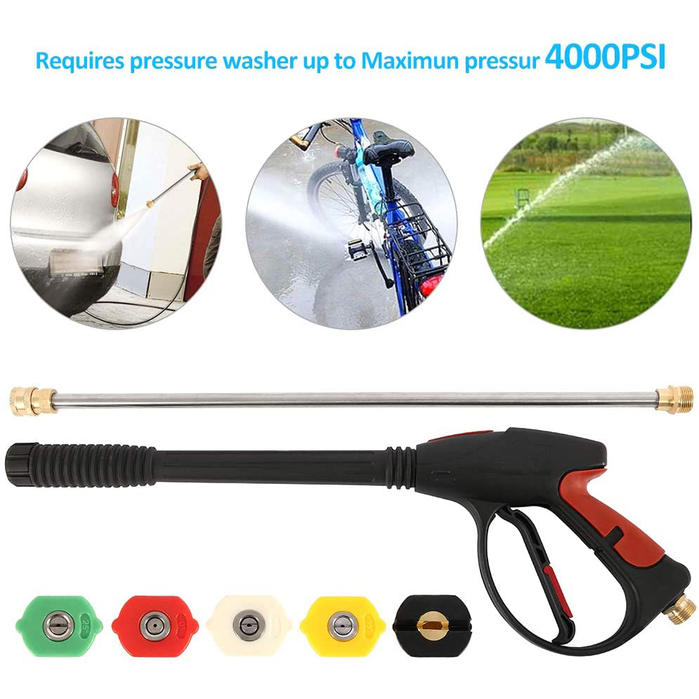 High Pressure Washer Gun Power Spray Gun 4000PSI With 19 Inch Extension Rod Replacement Wand Lance 5 Quick Connect Spray Nozzles