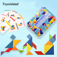 Monterssori Baby Toy Wooden Tangram  Jigsaw Puzzle with Cards Shape Board Animal 3D Wood Education for Children Gifts