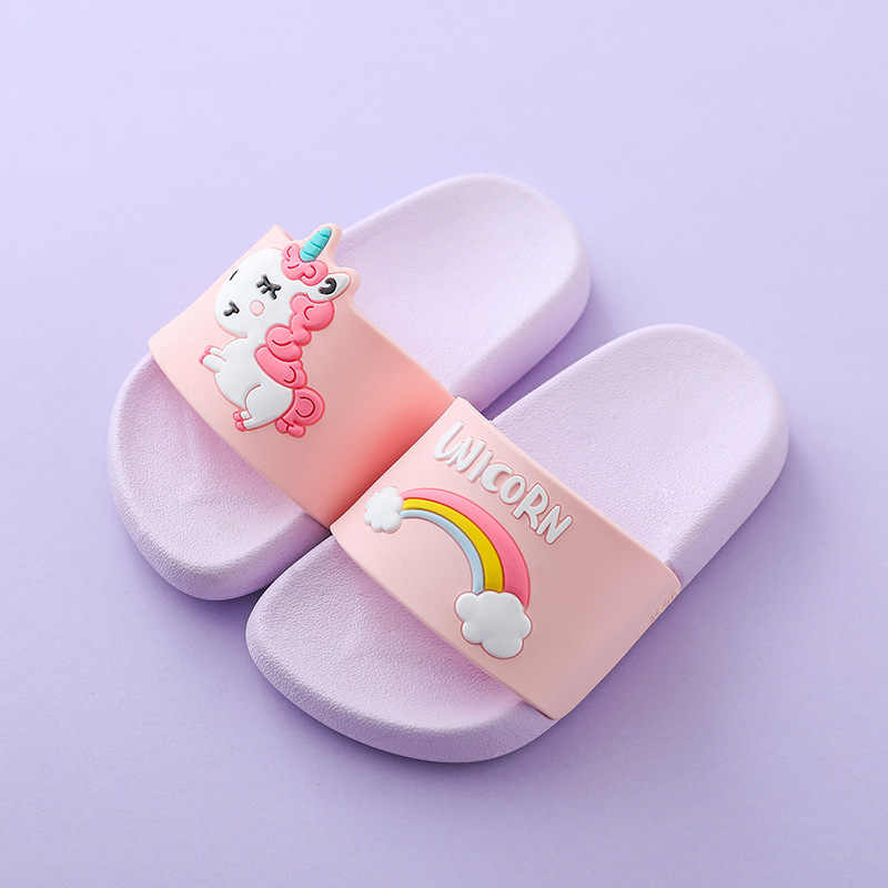 3-9Y Kids Cartoon Unicorn Indoor Slippers Toddler Boys Girls Summer Home Flip Flops Children Bedroom Shoes Beach Wear Slipper