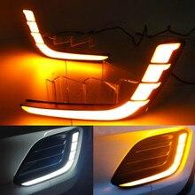 цены JURUS 2Pcs 12V Car Led DRL Daytime Running Lights For Suzuki Swift 2014 2015 2016 Fog Lamp Led White Turn Yellow Signal Lamps