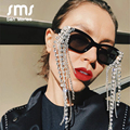 Vintage Quaste Strass Sonnenbrille Frauen 2020 Neue Luxulry Marke Steampunk Sonnenbrille Einzigartige Diamant Brillen Oculos UV400