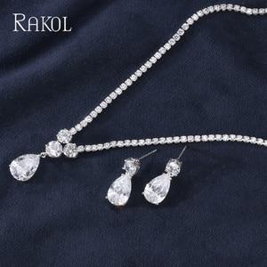 Image 3 - RAKOL New Fashion Luxury AAA Zircon Water Drop Shape Necklace Earrings jewelry Set for Women Party wedding Dress Accessories