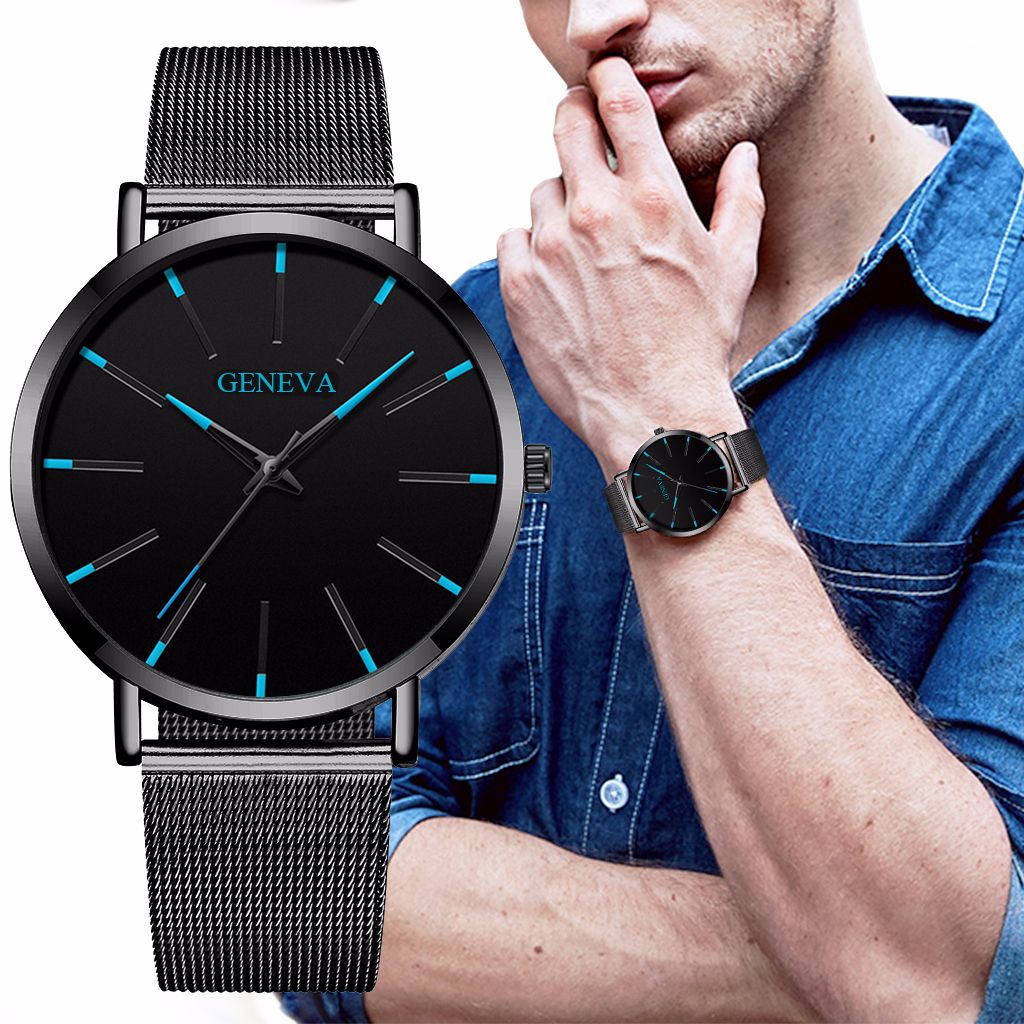 Hot Selling Men Black Stainless Steel Mesh Belt Business GENEVA Watch Luxury Men Sport Watch Quartz Clock Relogio Masculino