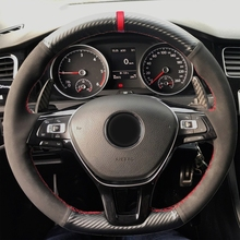 Hand-stitched Black Carbon Suede Fiber Leather Car Steering Wheel Cover For Volkswagen VW Golf 7 Mk7 New Polo Jetta Passat B8