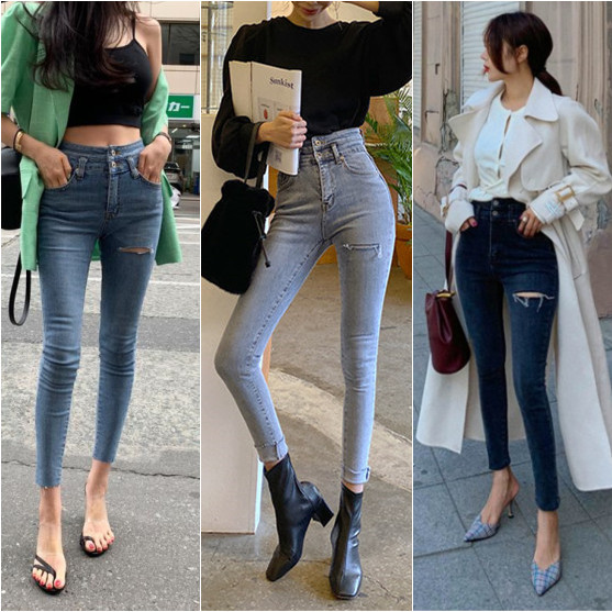 Han edition colour the new spring fashion jeans tall waist white hole cutting edge grinding and feet